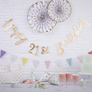 Gold Foiled Happy 21st Birthday Bunting Backdrop