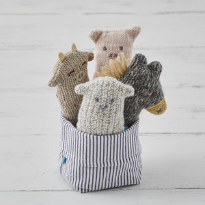 Set Of Four Farmyard Friends Soft Knit Baby Rattles - stocking fillers