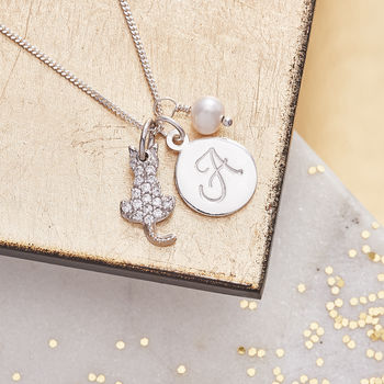 Cat Charm Personalised Silver Necklace - White Fresh Water Pearl