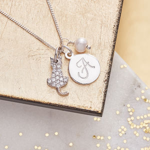 Cat Charm Personalised Silver Necklace - children's jewellery