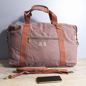 Personalised Vintage Canvas Weekend Holdall Bag - for him