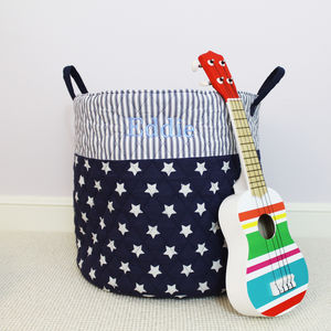 Personalised Blue Large Quilted Toy Bag - children's room accessories