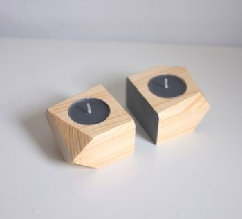 Geometric Wooden Double Tea Light Holder Set Of Two