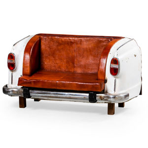 Vintage Upcycled Classic Car Leather Sofa - furniture