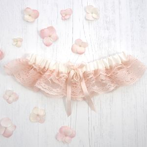 Ophelia Rose Silk Wedding Garter With Blush Pink Lace - lingerie accessories