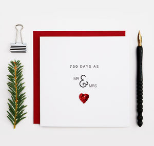 730 Days As Mr And Mrs 2nd Anniversary Card