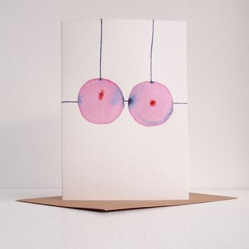 Handmade Watercolour Funny New Boobs Greetings Card