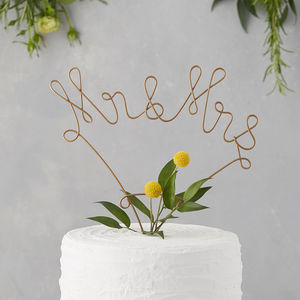 Mr And Mrs Wire Cake Topper - table decorations