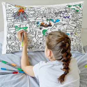 Doodle Dinosaur Pillowcase Colour And Learn - children's room