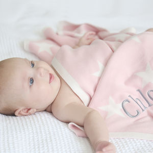 Personalised Pink Star Blanket - sleeping