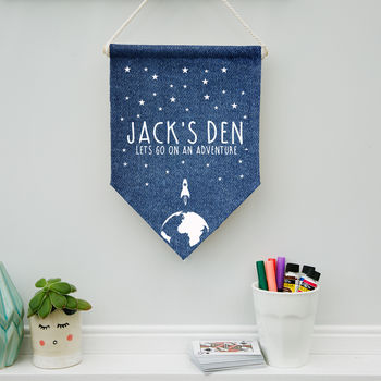 Personalised Child's Denim Space Pennant
