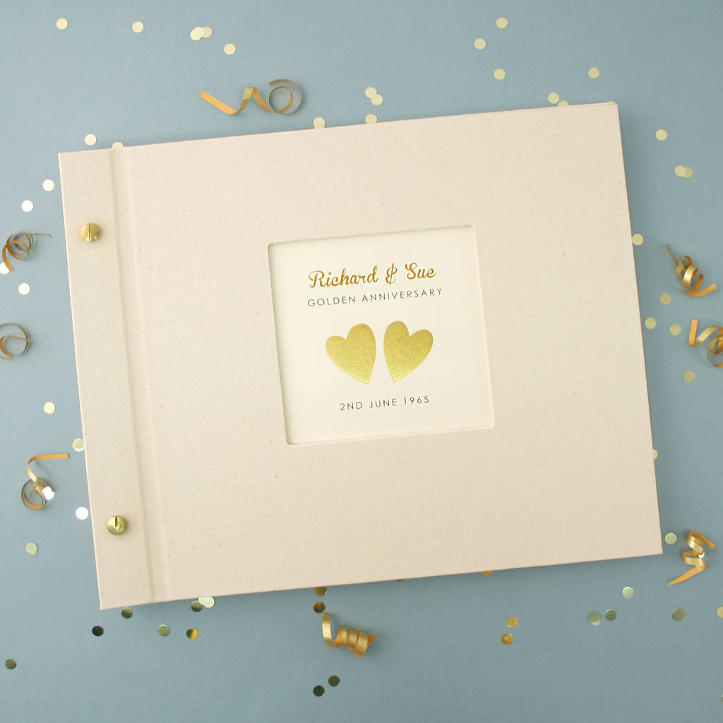 Personalised Golden Wedding Anniversary Photo Album By Made By Ellis