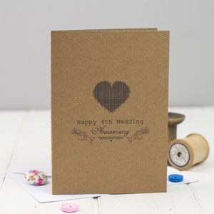 Fourth Wedding Anniversary Card Linen - anniversary gifts