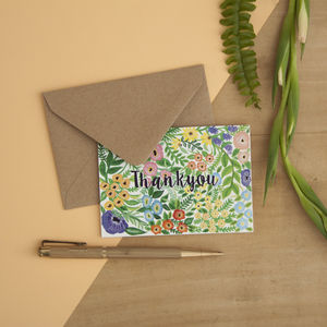 Set Of Six Patterned Mini Thankyou Cards - new in