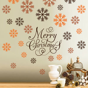 Merry Christmas Snowflakes Wall Decal Sticker