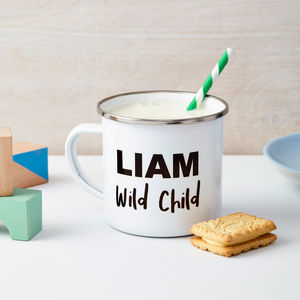 'Wild Child' Personalised Enamel Mug - kitchen