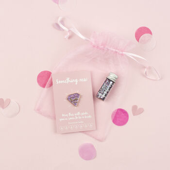 Bride To Be Pink Diamond Pin And Body Glitter