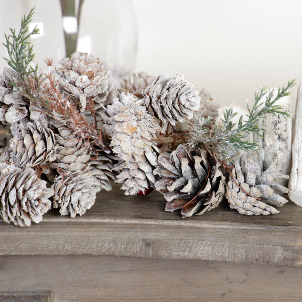 sparkling snow dusted nordic christmas garland by dibor ...