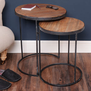 Set Of Two Steel And Natural Wood Nesting Tables - side tables