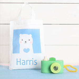 Wooden Camera And Personalised Gift Bag - baby's first christmas