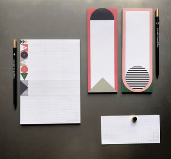 Magnetic Notepad With Magnetic Pencil : Geo Pink