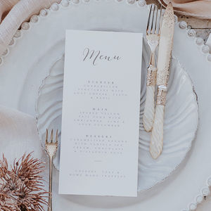 Bliss Grey Menu Card - menu cards