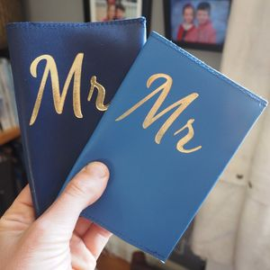 Mr And Mr Personalised Leather Passport Gift Set - passport holder