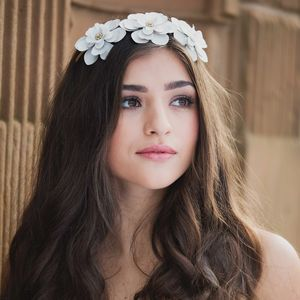 Imogen Chalk White Peony Bridal Headpiece - wedding fashion