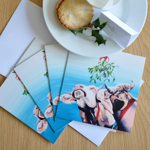 Kissing Cows Christmas Card Four Pack