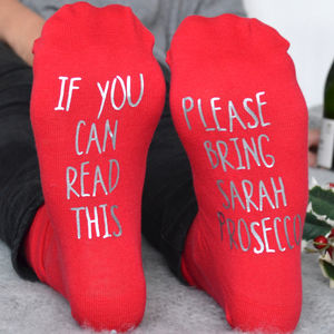 Personalised Please Bring Prosecco Socks - personalised gifts