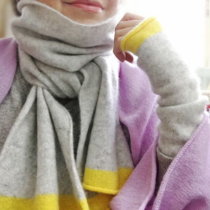 Pure Cashmere Wrist Warmers With Yellow Band