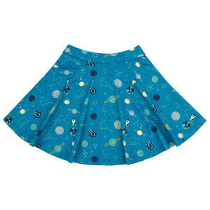 Girls Teal Blue Space Skater Skirt