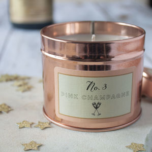 Pink Champagne Scented Candle Gift In Rose Gold Tin - christmas sale