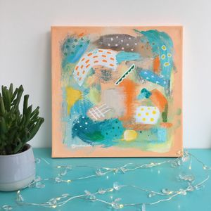 Abstract Art Colourful Girls Boys Orange Painting - new in home