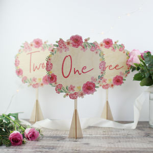 Floral Wreath Wedding Table Number, Wood - table decorations
