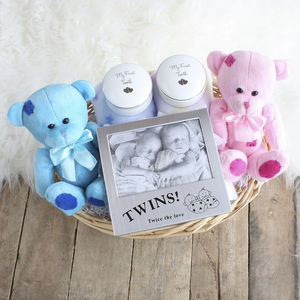 Double Deluxe Twin New Baby Gift Basket - gift sets