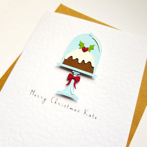 Personalised Christmas Pudding Card - cards