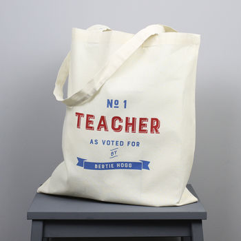 Personalised 'Number One Teacher' Tote Bag