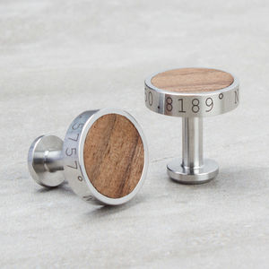 Personalised Stainless Steel And Walnut Wood Cufflinks