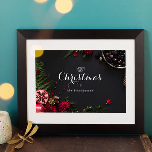 Personlised Chalkboard Effect Merry Christmas Print