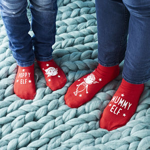 Personalised Family Elf Sock Set - festive socks