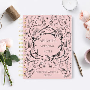 Personalised Wedding Notebook 'Naive blush'
