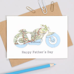 Personalised Fathers Day Map Motorbike Card