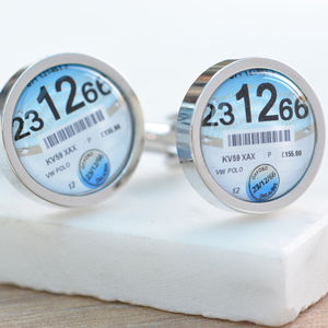 Personalised Tax Disc Cufflinks - cufflinks