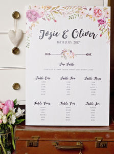 Peony Wedding Table Plan - table plans