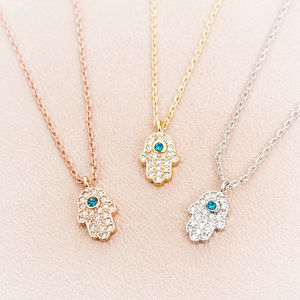 Personalised Protective Crystal Hand Charm Necklace - necklaces & pendants
