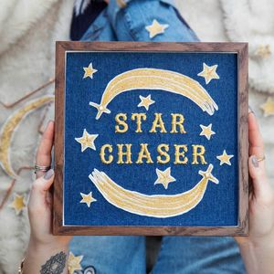 'Star Chaser' Framed Embroidered Wall Art - mixed media & collage