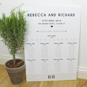 Tying The Knot Mounted Wedding Table Plan