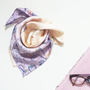 Doll Print Square Silk Scarf