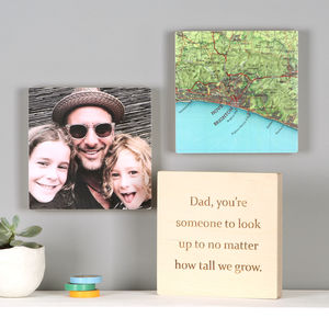 Personalised Map Photo Wall Art Blocks For Him